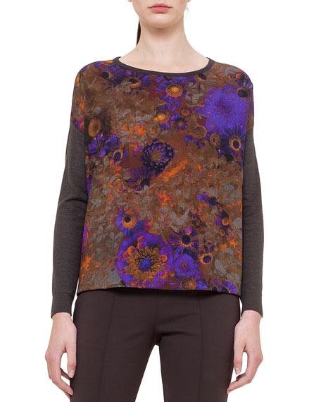 Mousseline Flower-Print Sweater