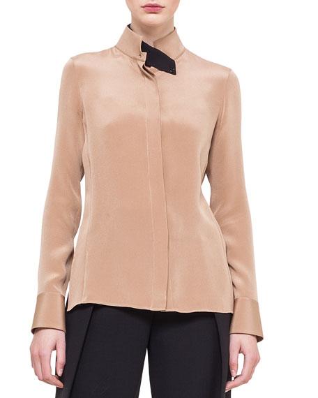 Stand-Collar Silk Blouse, Rye