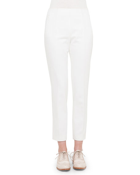 Akris Conny Side Zip Ankle Pants Off White Neiman Marcus