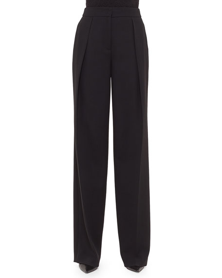 Akris Florian Deep-Pleat Pants, Black
