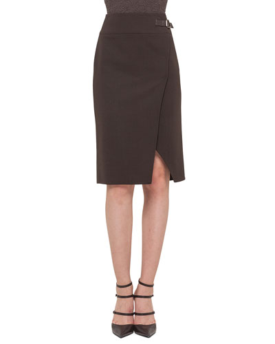 Double-Faced High-Waisted Slit Pencil Skirt
