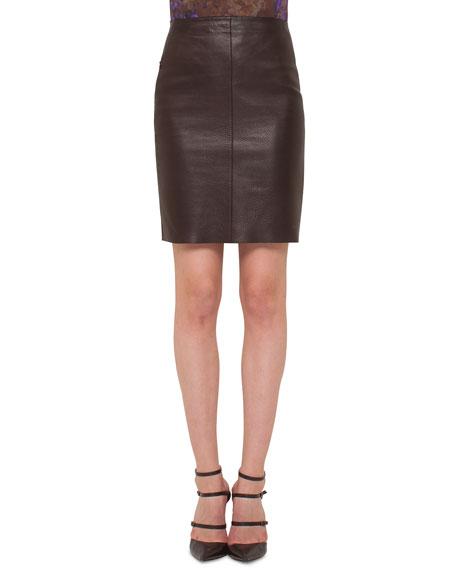 Akris Napa Leather Pencil Skirt