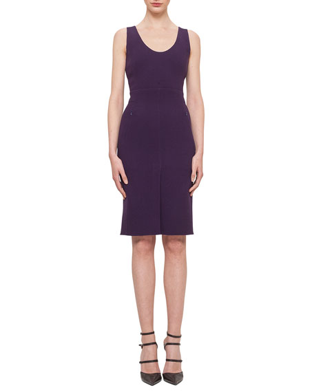 Akris Double-Faced Crepe Scoop-Neck Sheath Dress