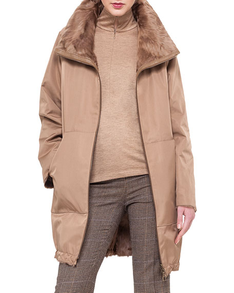 Fur-Lined Tech Fabric Reversible Coat