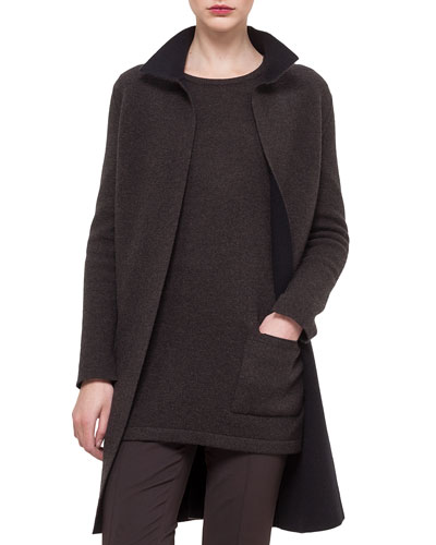 Cashmere Reversible Long Coat, Cypress/Black