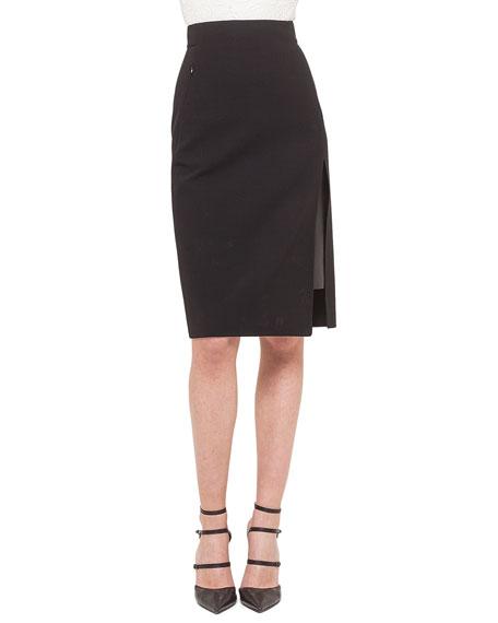 Akris Leather-Inset Side-Slit Pencil Skirt