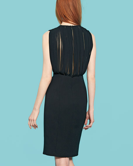 Sliced-Back Square-Neck Sheath Dress