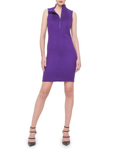 Cashmere Zip-Front Dress, Clematis
