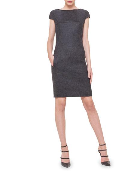 Akris Chain-Trim V-Back Plaid Dress, Granite