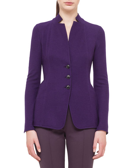 Akris Cashmere-Blend Jersey Reversible Button Jacket