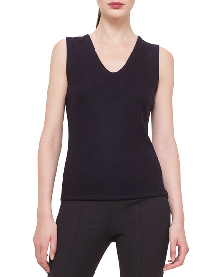 Akris Bicolor Reversible Cashmere-Blend Jersey Top, Clematis/Black