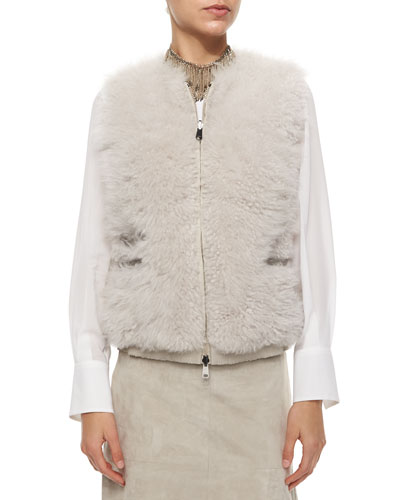Reversible Cashmere & Fur Zip Vest