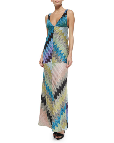 Deep V-Neck Bias Zigzag Gown
