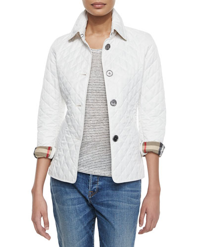 Long-Sleeve Quilted Jacket, White