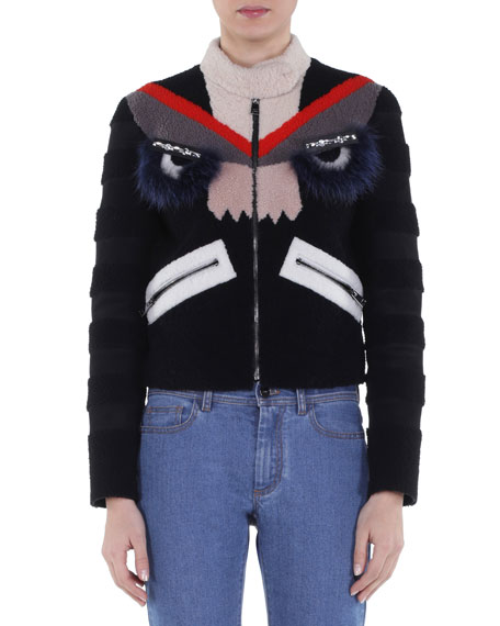 Bug Eyes Fur-Embellished Shearling Jacket