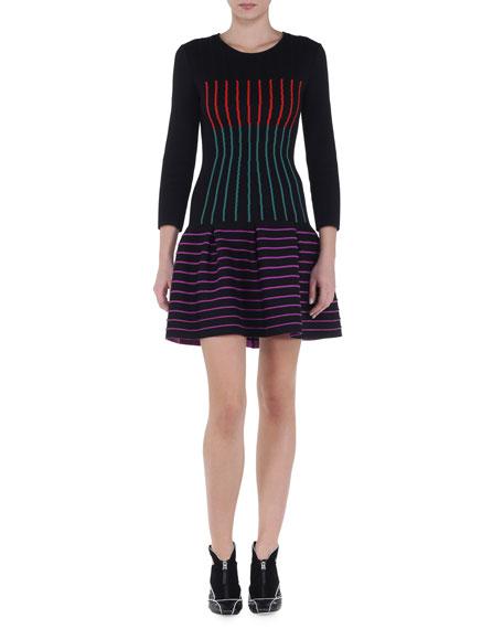 Fendi Multicolor Striped Drop-Waist Dress