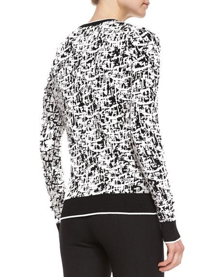 Jacquard Knit Pullover Sweater, Chalk/Black