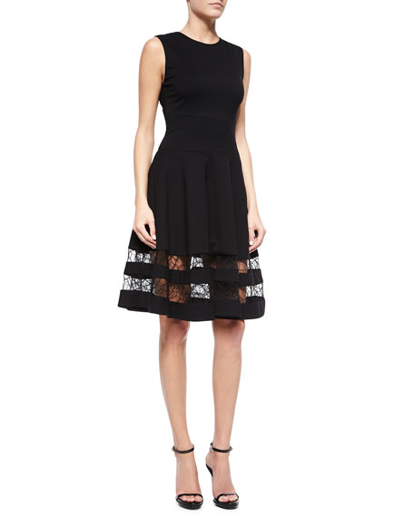Lace-Inset Flounce Skirt Dress