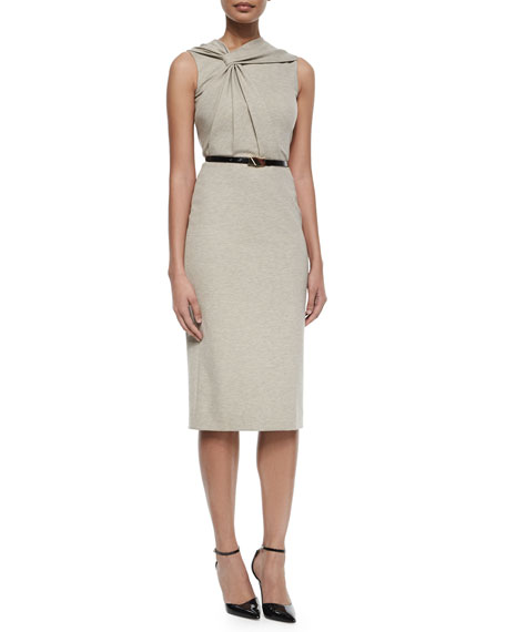 Jason WuTwist-Front Sleeveless Dress w/Belt