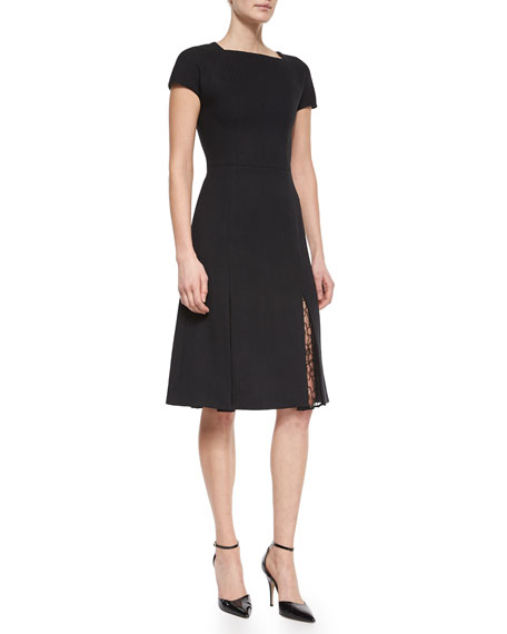 Jason Wu Lace-Godet-Hem Short-Sleeve Dress