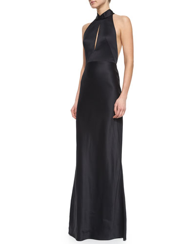 Slit-Keyhole Open-Back Halter Gown
