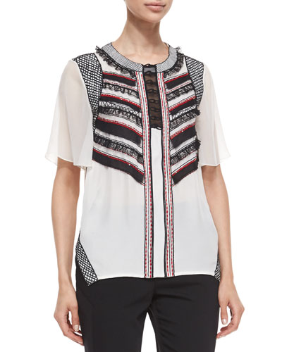 Prabal Gurung Sequined Striped Ruffle-Front Blouse