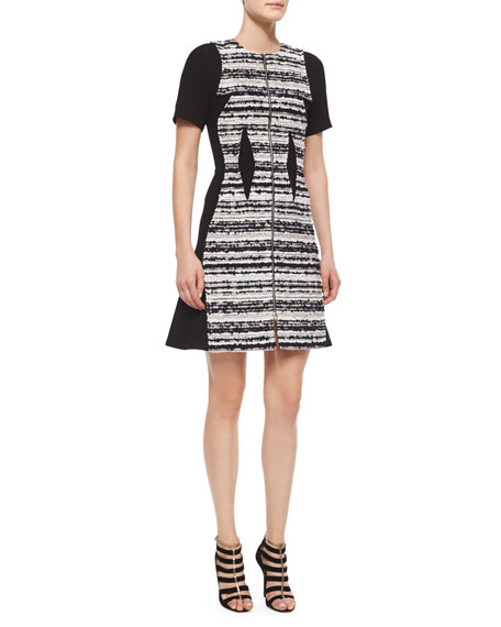 Prabal Gurung Striped Tweed Paneled Dress