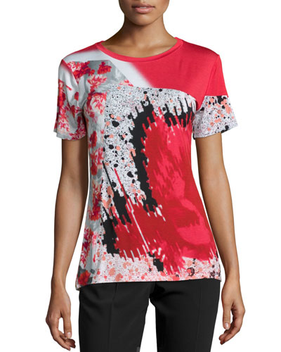 Short-Sleeve Abstract-Print T-Shirt, Crimson/Black