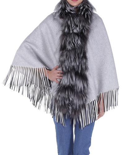 Fur-Trimmed Leather-Fringe Cape