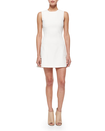 Sleeveless Jewel-Neck Dress, Skull/Off-White