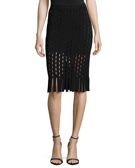 Alexander Wang Pencil Skirt W/Slit and Fringe Detail, Nocturnal Black
