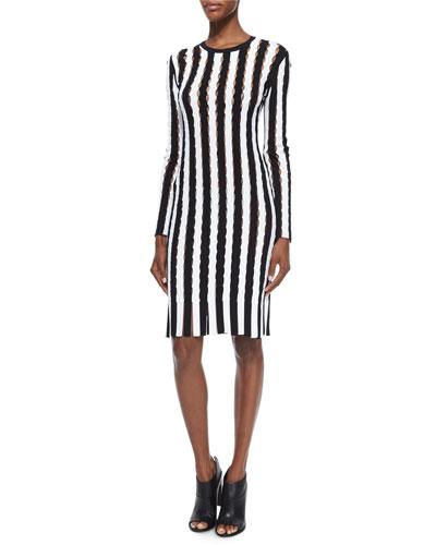 Long-Sleeve Striped Open-Knit Sheath Dress