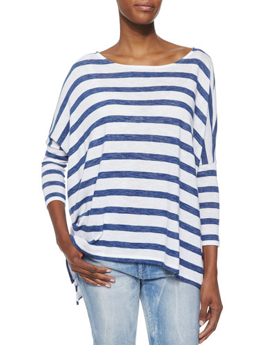Striped Boat-Neck Dolman Top