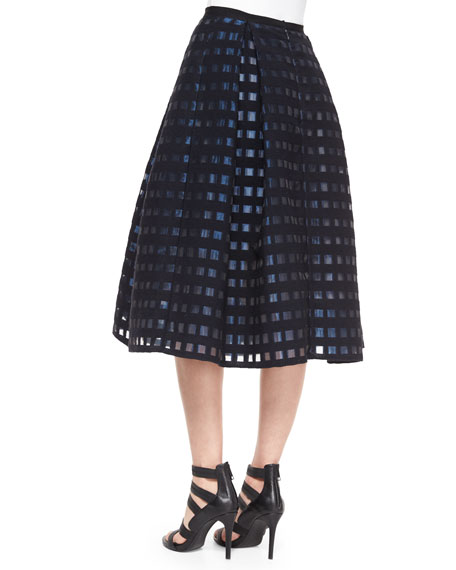 Ina Checked File Coupe Midi Skirt