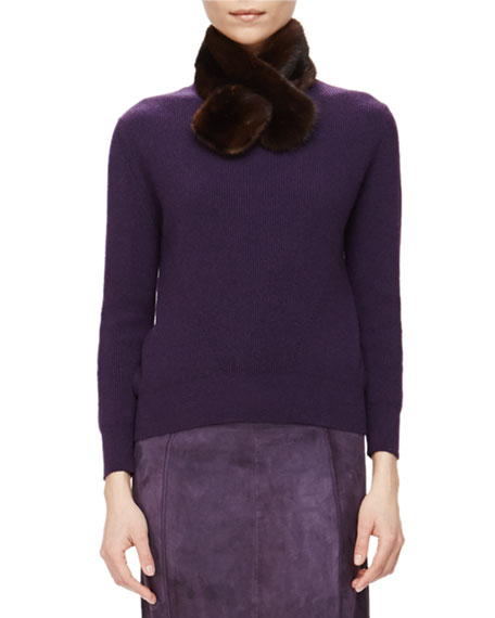 Carolina Herrera Ribbed Cashmere Sweater w/ Removable Fur Collar, Currant