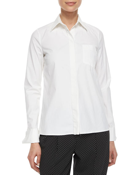 Michael Kors Collection French-Cuff Patch-Pocket Blouse