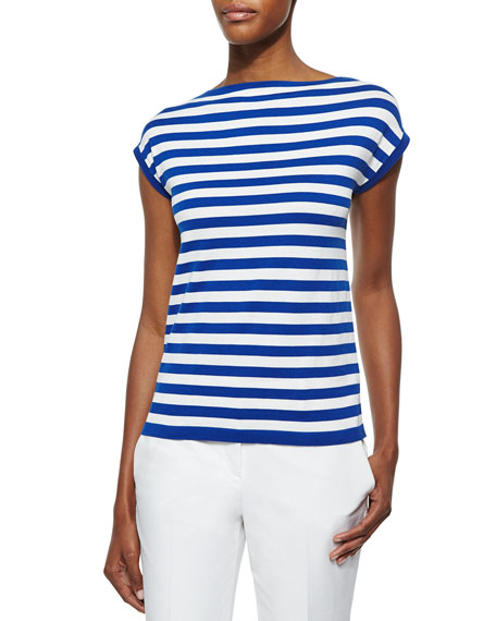 Michael Kors Collection Striped Cap-Sleeve Top