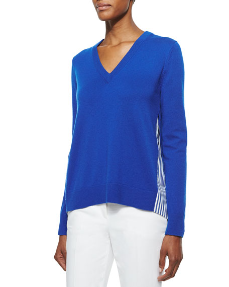 Michael Kors Collection Cashmere V-Neck Sweater w/Striped