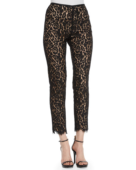 Michael Kors Collection Floral-Lace Skinny Pants