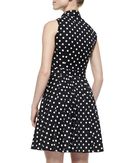Polka-Dot Pleated Shirtdress