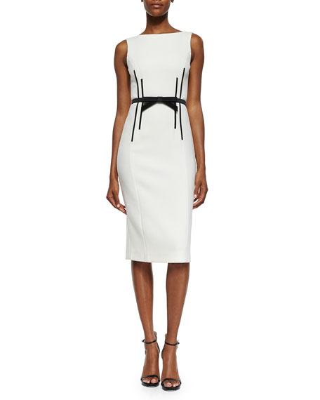 Michael Kors Collection Sleeveless Sheath Dress w/Bow Belt