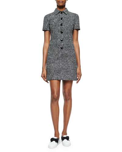 Crosshatch-Print Polo Dress