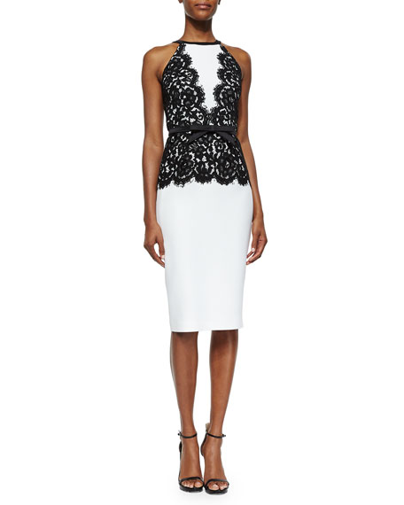 Michael Kors Floral Lace-Overlay Bow-Belted Dress