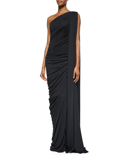 One-Shoulder Slit Draped Gown