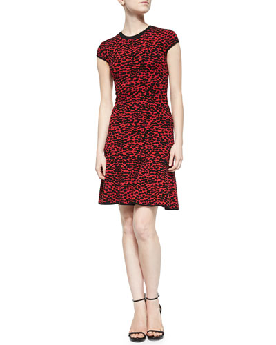 Spotted Stretch-Knit Flounce Dress