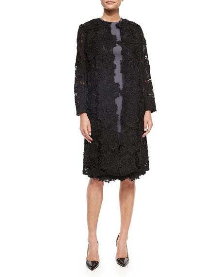 Lela Rose Three-Quarter-Sleeve Rose Lace Coat