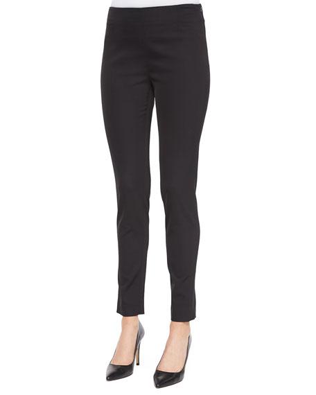 Lela Rose Catherine Side-Zip Pants, Black