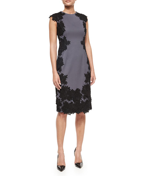 Lela Rose Rose Lace Trimmed Sheath Dress