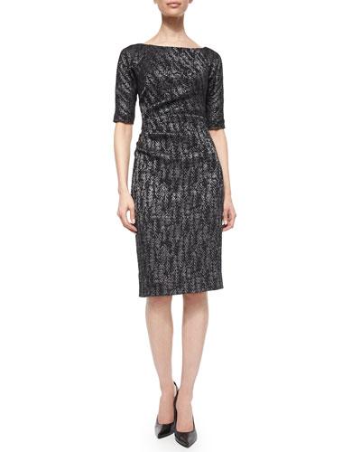 Half-Sleeve Side-Ruch Sheath Dress, Black Metallic