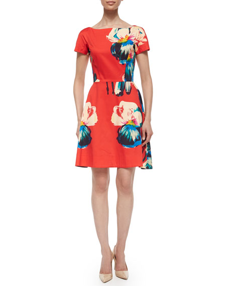 Lela Rose Short-Sleeve Floral-Print Dress, Red Multi